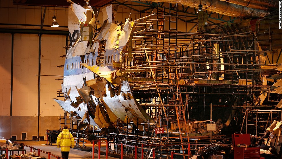 The reconstructed remains of Pan Am Flight 103 lie in a warehouse in Farnborough, England, on January 15, 2008.