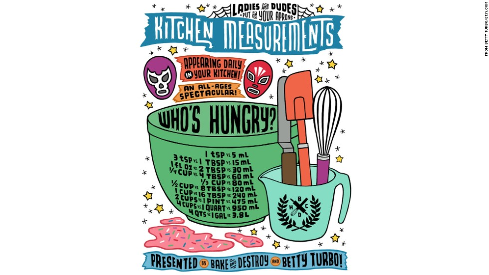 Betty Turbo Kitchen Measurements with Utensils and Luchadores Poster -- $20