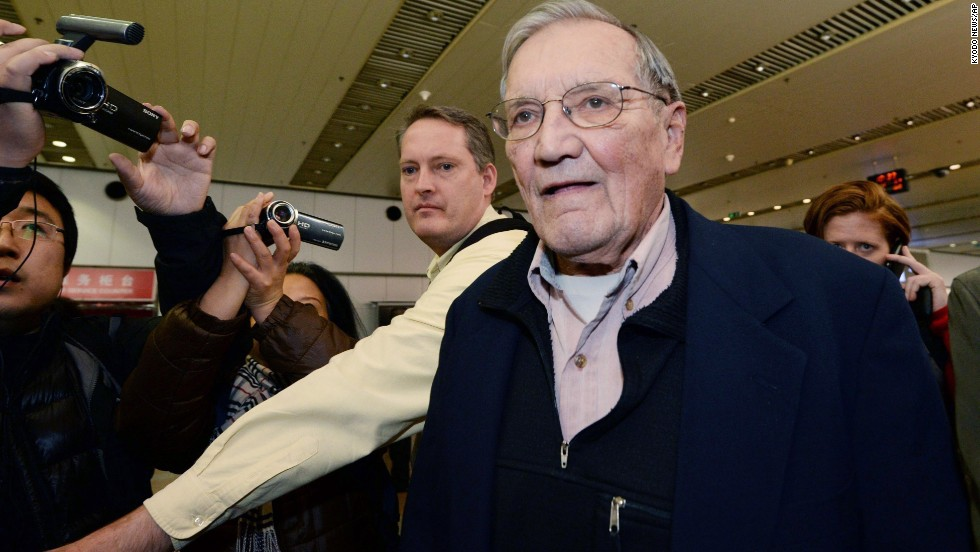 "U.S. tourist and Korean War veteran Merrill Newman arrives at the Beijing airport on December 7, 2013, after being released by North Korea. Newman was <a href=""http://www.cnn.com/2013/11/20/world/asia/north-korea-detained-american/index.html"">detained in October 2013 by North Korean authorities</a> just minutes before he was to depart the country after visiting through an organized tour. His son Jeff Newman said the Palo Alto, California, man had all the proper paperwork and set up his trip through a North Korean-approved travel agency."