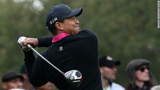 Tiger Woods hits another accurate tee shot on the way to a course record equaling 62 in California.