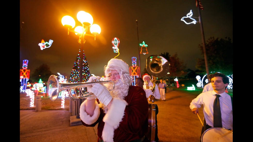 "Doyle Cooper of the Red Hot Brass Band participates in the ""Lights Up The Holidays"" gala at Lafreniere Park in Metairie, Louisiana, on December 5."