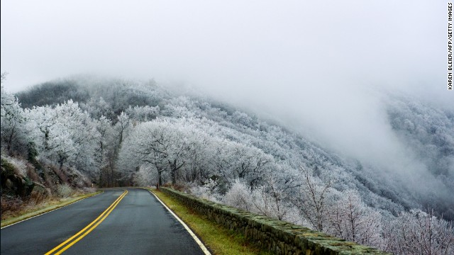 Moisture from low lying clouds coats trees in the Shenandoah National Park with a layer of ice and frost on December 7.