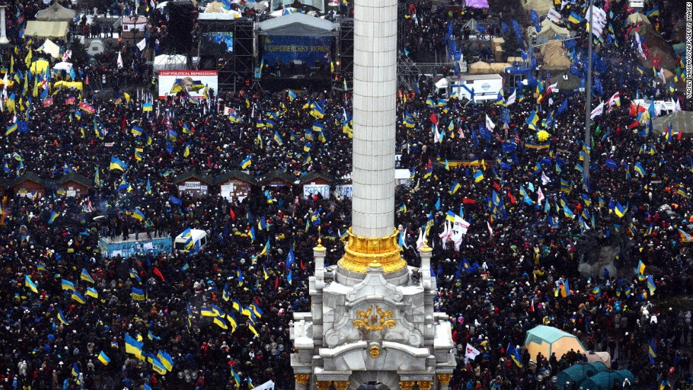 Demonstrators gather in Independence Square during the mass rally December 8.