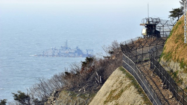 A South Korean military guard post is seen overlooking the disputed waters of the Yellow Sea.