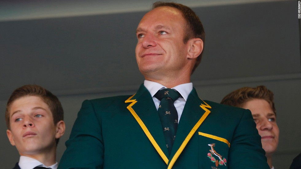 South Africa Rugby Union captain Francois Pienaar waits for the memorial service to begin.