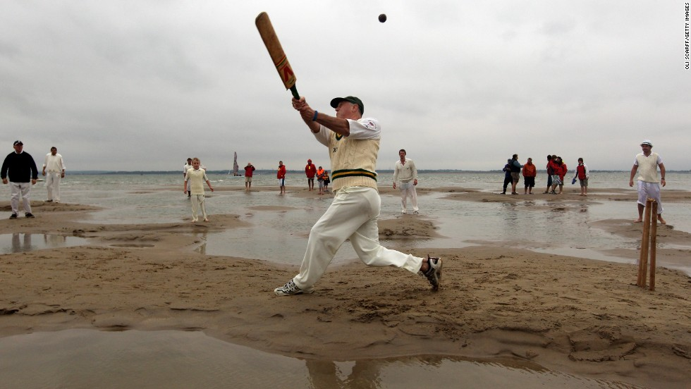 For one hour in the English summer, players from Royal Southern and Island Sailing Clubs converge on Bramble Bank on the Solent for an often sodden game of cricket.