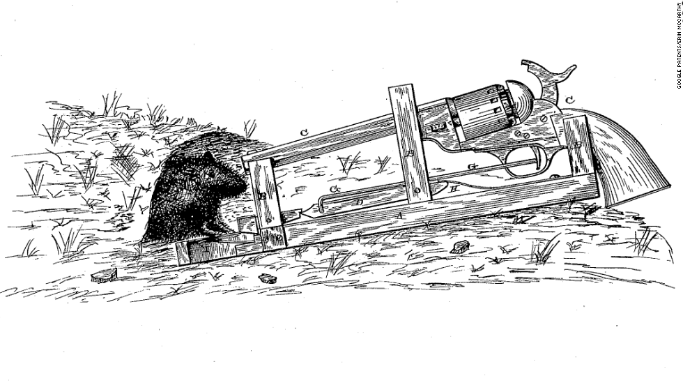 "<strong>1. ""ANIMAL-TRAP""  </strong>Mousetraps can be so anticlimactic, but this one goes off with a bang. An 1882 patent, the frame is designed to hold your favorite peashooter. When a rodent steps onto the treadle, a spring yanks on the trigger and sets off the firearm. The inventor, James Williams, suggested it would make a good burglar alarm."