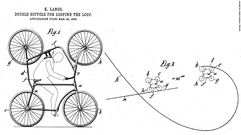 "<strong>11. ""DOUBLE BICYCLE FOR LOOPING THE LOOP"" </strong> ""Yo, dawg. I heard you like bicycles, so I put a bicycle on a bicycle so you can stay upright while you go upside down."" Patented in 1905 by Kael Lange."