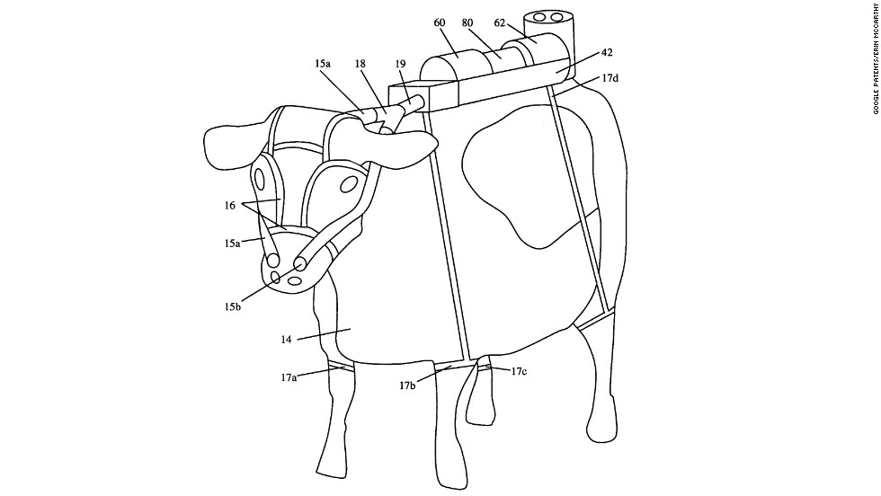 "<strong>8. ""PROCESS FOR THE UTILIZATION OF RUMINANT ANIMAL METHANE EMISSIONS""  </strong> Forget windmills and solar panels. Harness the beautiful power of cows! Ruminant animals—which have four stomachs—account for 20 percent of the world's methane emissions. (Most of that methane doesn't come from their behinds, actually. They exhale and burp it out.) To harness all that lost gas, Markus Herrema patented a bovine gas collector in 2006. The gas is channeled to a chamber full of methane-loving microorganisims, which can be used later in ""nutritional foodstuff or . . . other useful products, such as adhesive or cosmetics."""