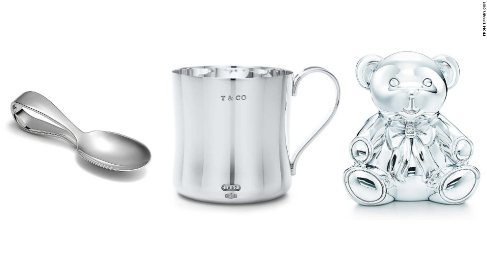 Your family and friends' new additions already seem to have so much stuff. What's left to give? Silver is a traditional heirloom gift for infants. Tiffany & Co. has plenty of gift options.