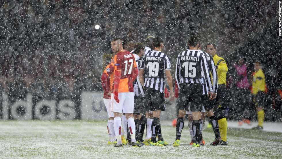 Portuguese referee Pedro Proenca suspended the game between Galatasaray and Juventus in Istanbul following a snowstorm during the first half. Play was halted in the 32nd minute when players and officials could no longer see the white lines on the pitch.