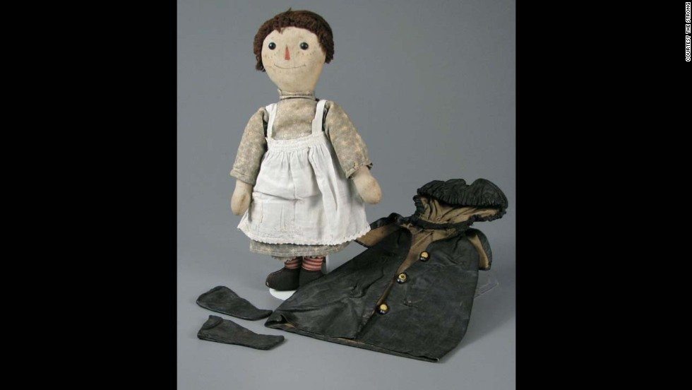 "Raggedy Ann doll by P.F. Volland Company Muskegon Toy and Garment Works circa 1920s. Johnny Gruelle, a newspaper cartoonist, wrote and illustrated ""Raggedy Ann Stories"" for publisher P.F. Volland in 1918. Legend has it that Gruelle made up these stories to entertain his young daughter."