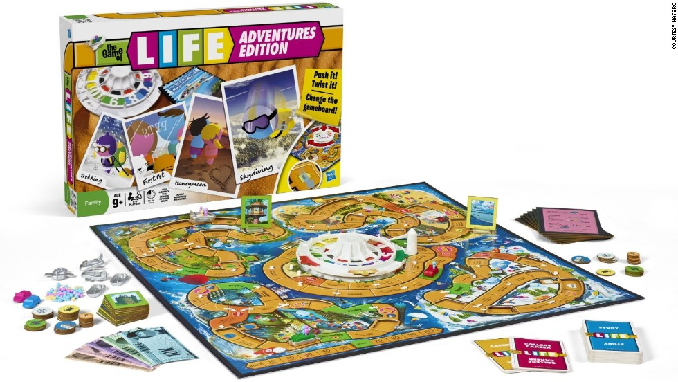 Game Of Life World Adventure by Milton Bradley in 2011. Today's Game of Life is about money and whether you can make it to retire to Millionaire Acres.