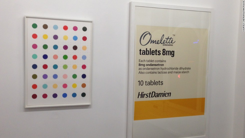 """Oleoylsarcosine"" (left) another of the artist's dot paintings, was created in 2008. It is worth £18,000 ($29,480). Police have appealed for help to recover the stolen pieces."