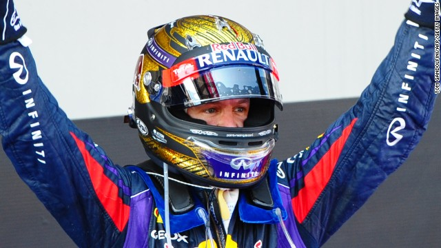 Sebastian Vettel regularly changes his helmet and his gold one worn in Germany (pictured) has sold for a record price