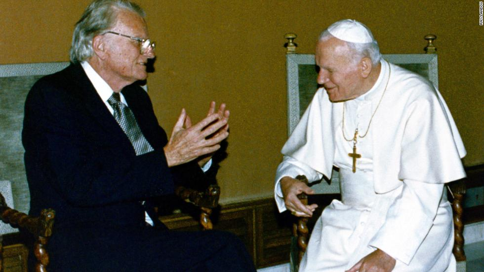 "Pope John Paul II meets with Graham at the Vatican in 1993. Graham has been called the ""Protestant Pope."""