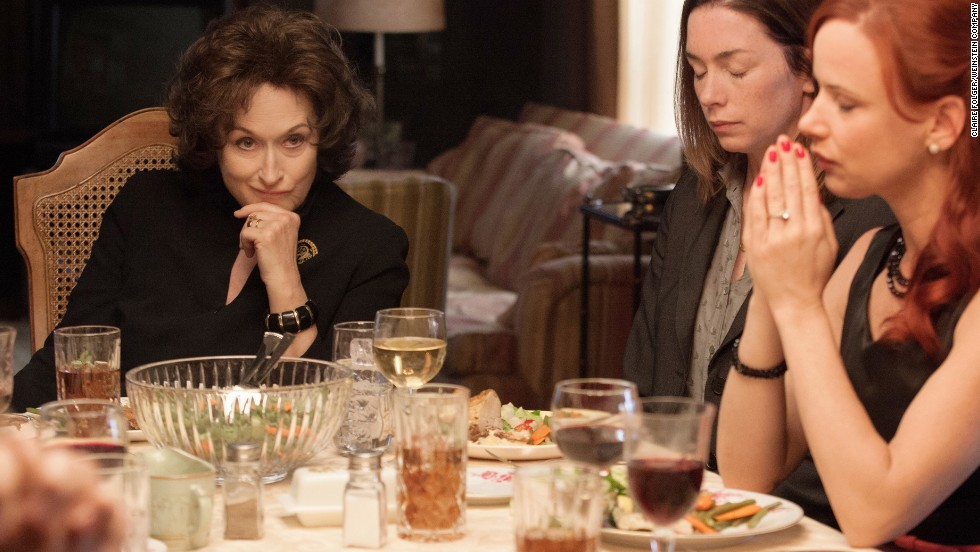 "Nominadas a mejor actriz - comedia o musical: Meryl Streep en ""August: Osage County"" (foto), Amy Adams en ""American Hustle,"" Julie Delpy en ""Before Midnight,"" Greta Gerwig en ""Frances Ha"" y Julia Louis-Dreyfus en ""Enough Said""."