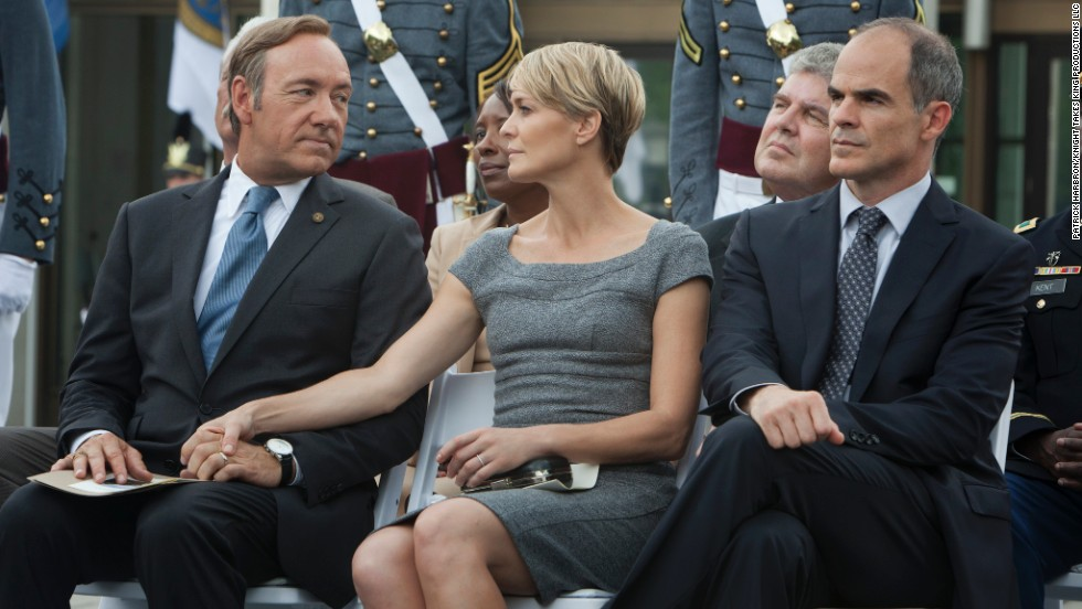 "Nominadas a mejor serie de TV - drama: ""House of Cards"" (foto); ""Breaking Bad,"" ""Downton Abbey,"" ""The Good Wife"" y ""Masters of Sex""."