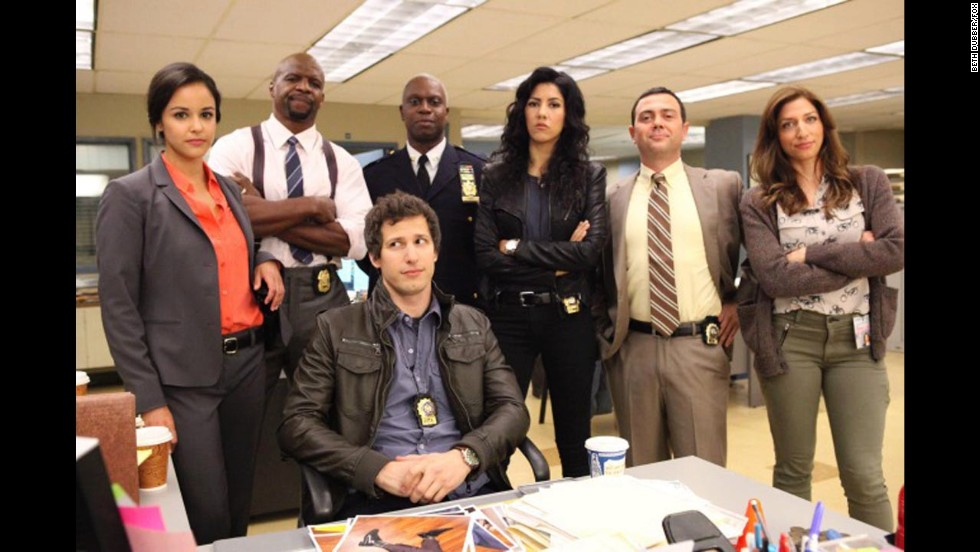 "Nominadas a mejor serie de TV - comedia o musical: ""Brooklyn Nine-Nine"" (foto), ""The Big Bang Theory,"" ""Girls,"" ""Modern Family"" y""Parks and Recreation""."