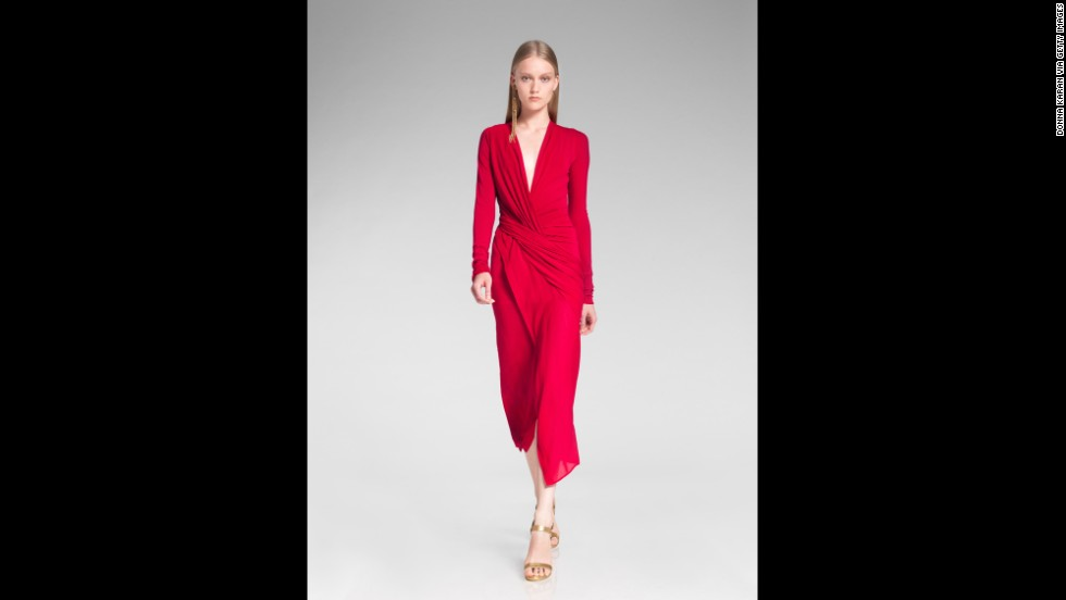 "Not sure what it means when that holiday party invitation suggests you ""dress festively""? Try these trends for inspiration. This festive red outfit from the 2014 Donna Karan resort presentation is perfect for a party."