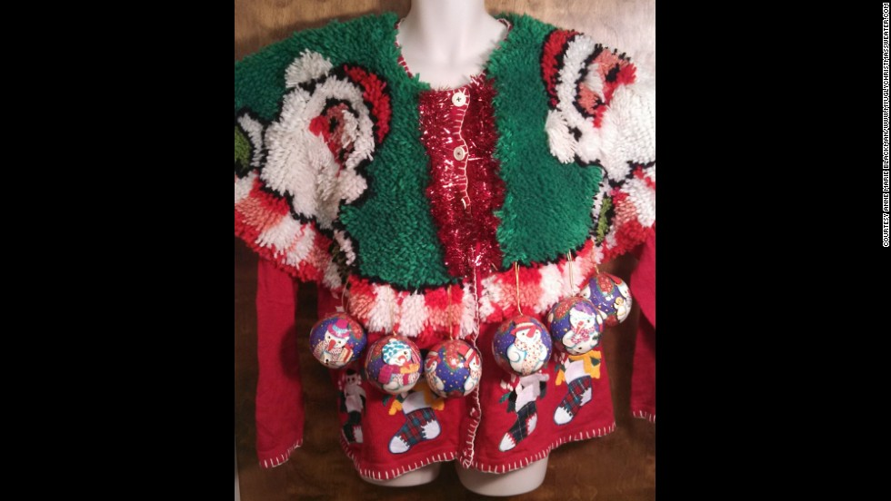 "Blackman likes to further embellish her ""ugly"" sweaters with chenille fringe and Christmas tree ornaments."