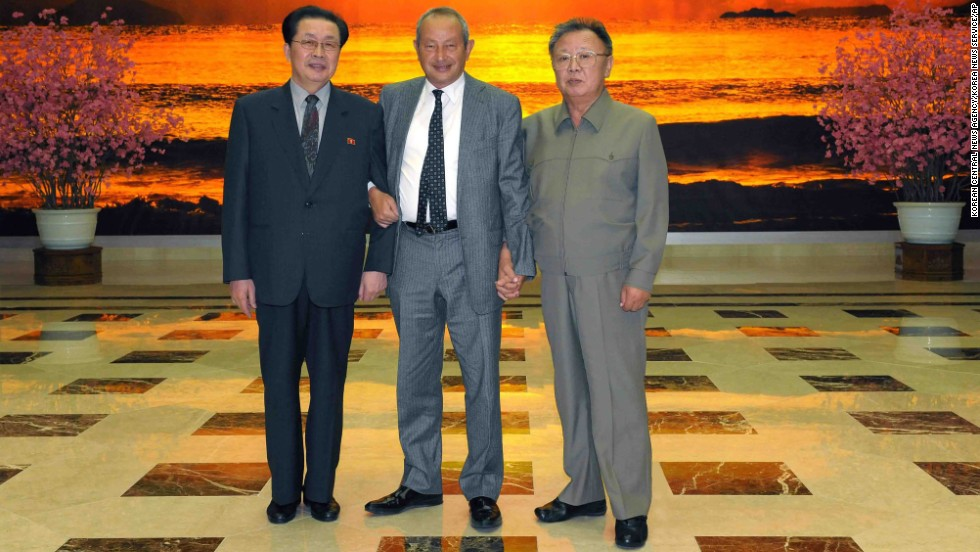 Jang is seen with Kim Jong Il, right, and Naguib Sawiris, center, the executive chairman of Cairo-based Orascom Telecom, at an undisclosed place in North Korea on January 23, 2011.
