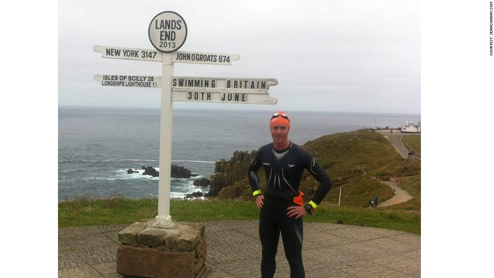 Conway before the start of his epic swim from Land's End at the bottom of England to John O'Groats at the tip of Scotland, which began on June 30, 2013.