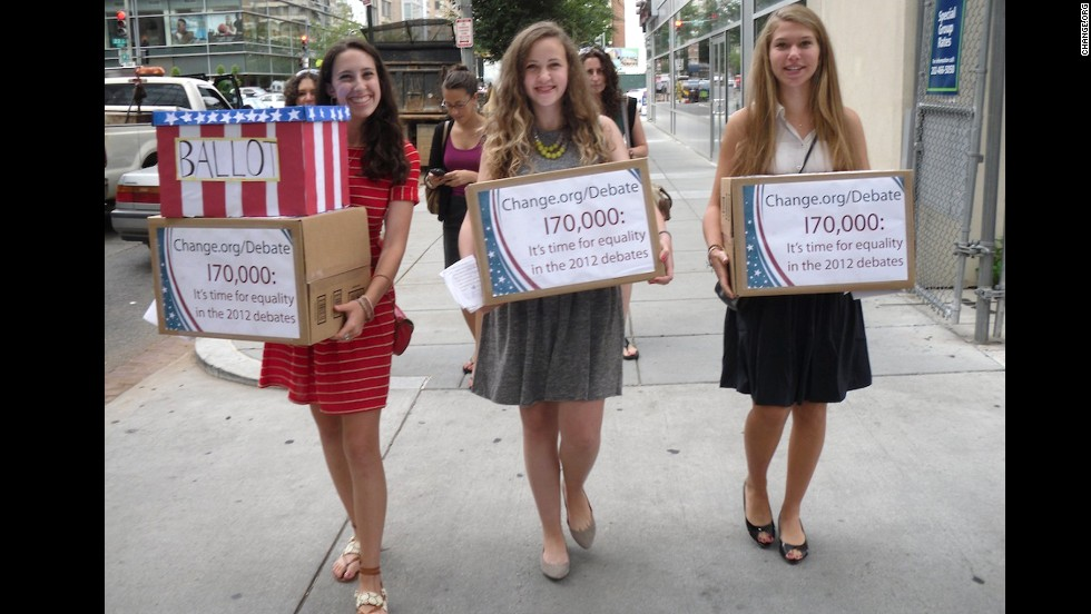 "Sammi Siegel, Emma Axelrod and Elena Tsemberis are three New Jersey teens who<a href=""https://www.change.org/petitions/it-s-time-for-a-woman-moderator-equality-in-the-2012-presidential-debates"" target=""_blank""> petitioned to get a female moderator</a> for the 2012 presidential debate. CNN's Candy Crowley was named a moderator for the second debate, in which<a href=""http://sotu.blogs.cnn.com/2013/12/11/millennial-women-are-closing-pay-gap-but-theyre-still-pessimistic-about-workplace-equality/""> wage parity </a>became an issue."