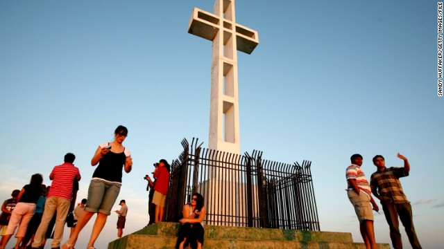 Visitors gather at the Mount Soledad Veterans Memorial  in San Diego in July of 2006.