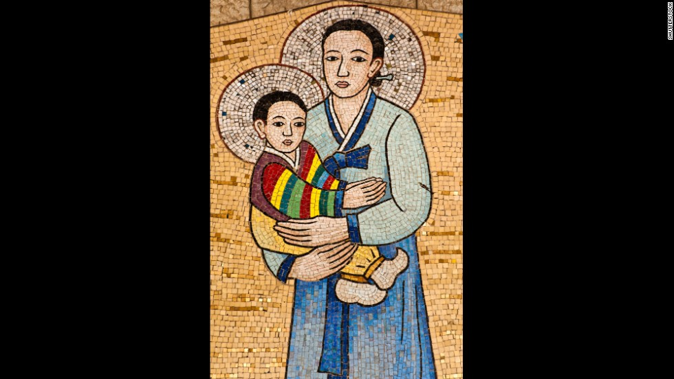 A mosaic from South Korea at the Church of the Annunciation in Nazareth, Israel, depicts Mary and Jesus.