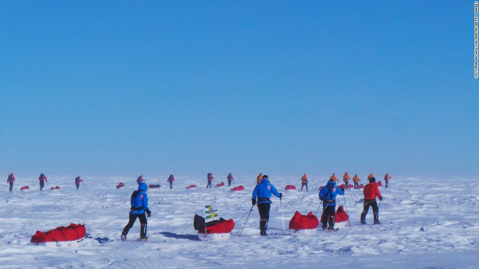 Teams trek with their sleds in Antarctica on Day 2. Twelve service personnel from the United Kingdom, the United States, Canada and Australia who have overcome life-changing injuries undertook training programs to prepare for the conditions they have faced in Antarctica.