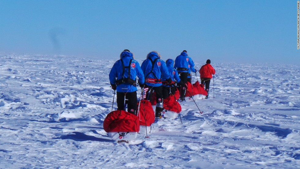 U.S. teammates form their ski line in setting out for the South Pole. The teams covered about 9-12 miles per day, pulling 150-pound sleds. They endured temperatures as low as minus-50 degrees Fahrenheit, along with 50-mph winds.