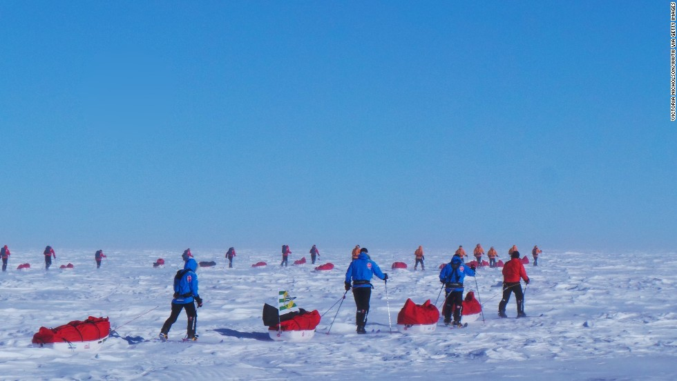 The teams trek with their sleds in Antarctica.  All 12 injured service personnel from Britain, America, Canada and Australia have overcome life-changing injuries and undertaken challenging training programs to prepare for the conditions in Antarctica.