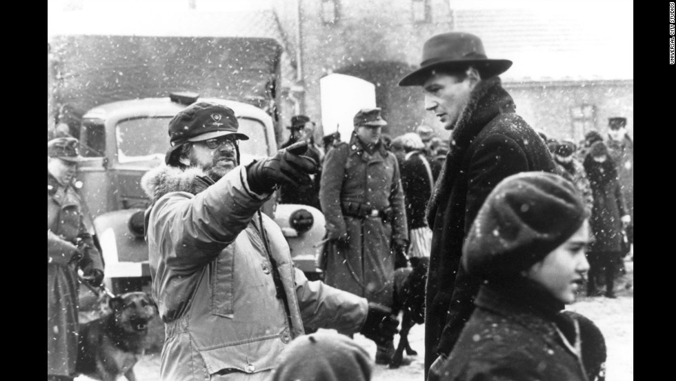 "Spielberg and actor Liam Neeson work on the set of ""Schindler's List"" in 1994. The film earned Spielberg his first Oscars for Best Picture and Best Director. Also in 1994, Spielberg created the film studio DreamWorks along with Jeffrey Katzenberg and David Geffen."