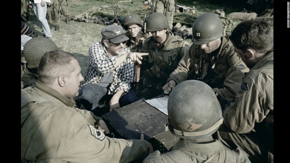 "Spielberg directs actors Tom Hanks, Jeremy Davies, Tom Sizemore, Adam Goldberg and others in the war drama ""Saving Private Ryan"" in 1998. Spielberg won his second Best Director Oscar for the film, and he also received the U.S. Navy's highest civilian award, the Distinguished Public Service Award."