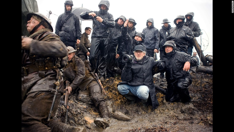 "Spielberg sets up a shot on the set of the 2011 film ""War Horse,"" an epic adventure set against a sweeping canvas of rural England and Europe during World War I."