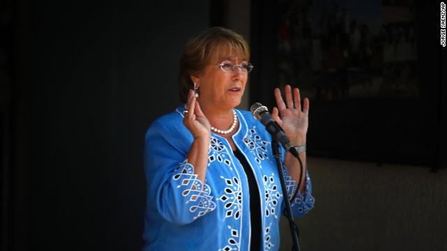 Michelle Bachelet talks to journalists after casting her vote during presidential elections in Santiago, Chile, on Sunday.