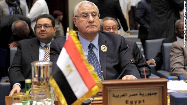 Egypt's interim president Adly Mansour attends the closing session of the Arab and African leaders summit in Kuwait city on November 20.