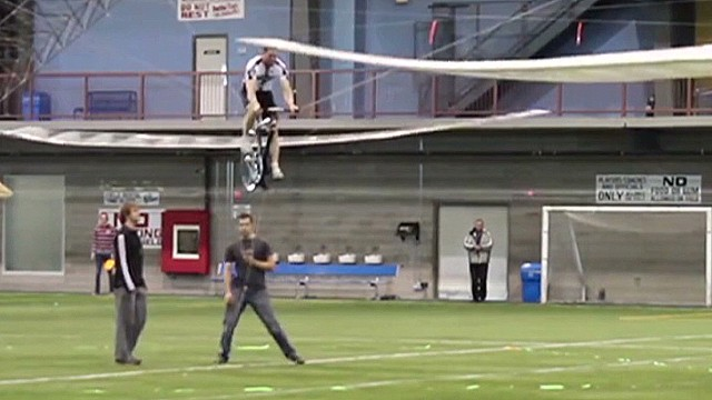 Duo creates human-powered helicopter