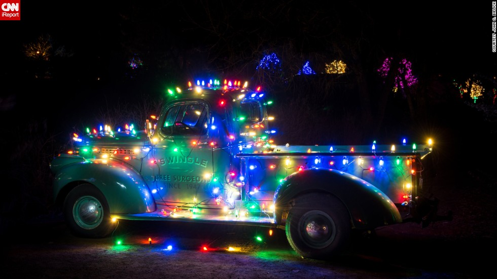 "This old truck wrapped in Christmas lights was on display in the Hudson Gardens in Littleton, Colorado. ""During the winter season when it is too cold for folks to sit outside and enjoy a music concert, Hudson Gardens decorates their facility with thousands of Christmas holiday lighting,"" <a href=""http://ireport.cnn.com/docs/DOC-1066300"" target=""_blank"">John C. Bielick</a> said. ""When I see the Christmas decorations in the wintery cold, I get a feeling of warmth inside."""