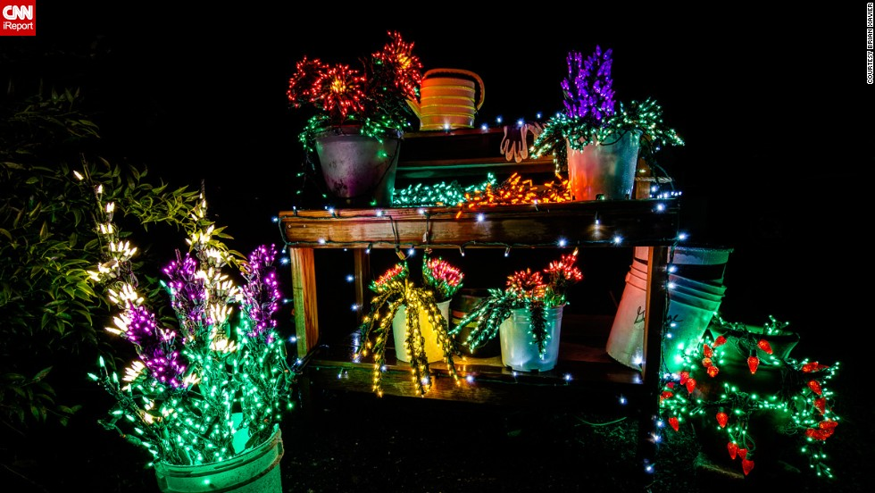"It looks like some Christmas fairies have gone wild on this garden bench and flowers. <a href=""http://ireport.cnn.com/docs/DOC-1066308"" target=""_blank"">Brian Xavier</a> took this photo at the Garden D'Lights show -- an annual Christmas lights event put on by the Bellevue Botanical Garden in Washington, U.S. ""This is a garden bench scene that gave me the thought that the gardener had just stepped away and left her work for us to see."""