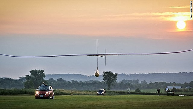 This flapping-wing ornithopter sustained flight for 19 seconds in a suburban Toronto field.