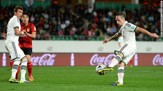 Franck Ribery scores Bayern Munich's opening goal in their clash with Chinese side Guangzhou Evergrande.