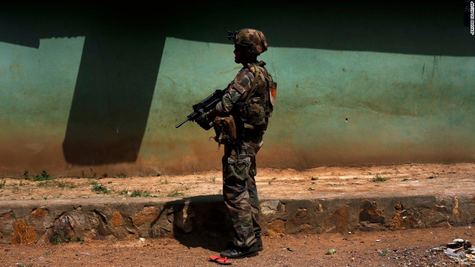 A French soldier patrols the Castor neighborhood of Bangui on Monday, December 16.
