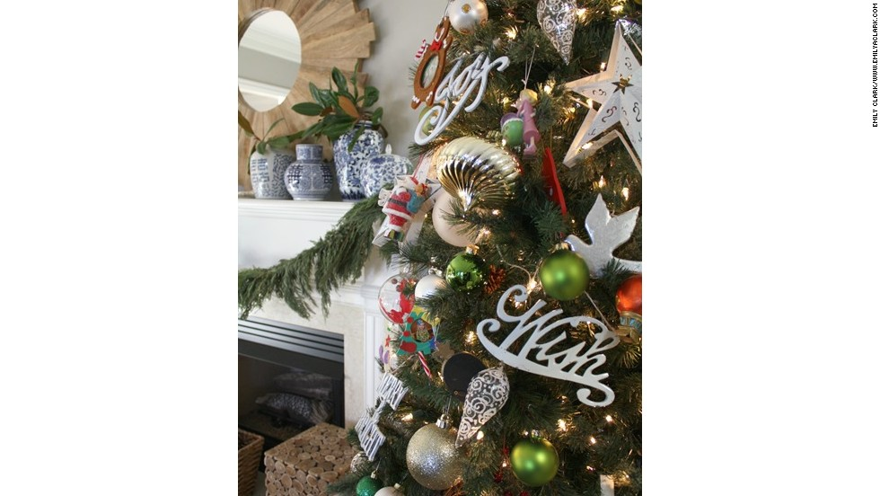 Clark's Christmas tree incorporates favorite family ornaments as well as a simplistic take on woodland botanicals.