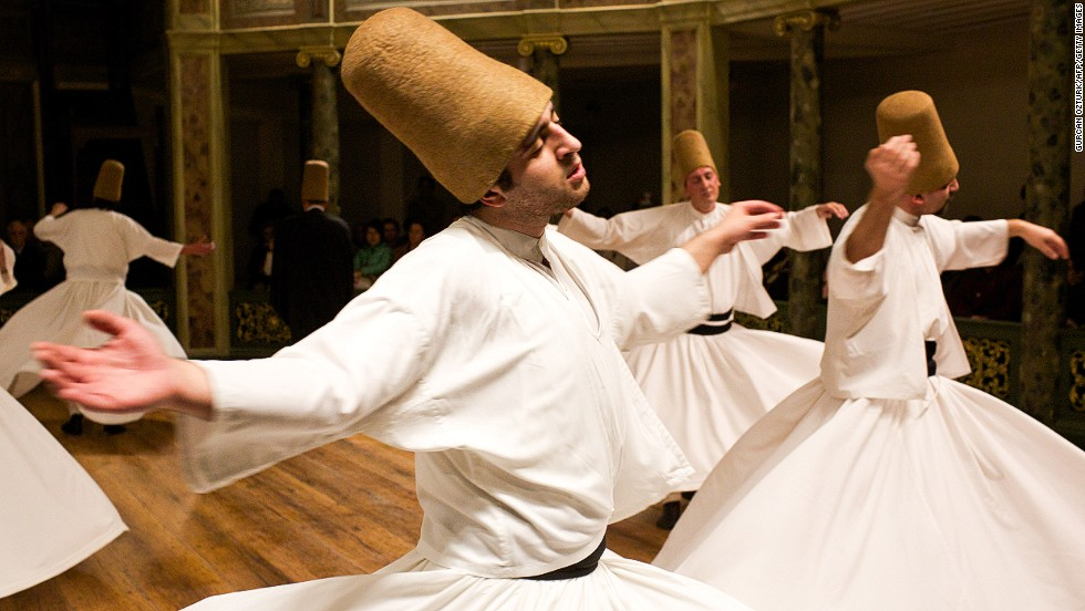 DECEMBER 19 - ISTANBUL, TURKEY: Whirling dervishes perform at the Galata Mevlevihane (The Lodge of the Dervishes) on December 18. The dervishes are followers of Sufism, a mystical form of Islam that preaches tolerance and a search for understanding. Those who whirl, like planets around the sun, turn dance into a form of prayer.