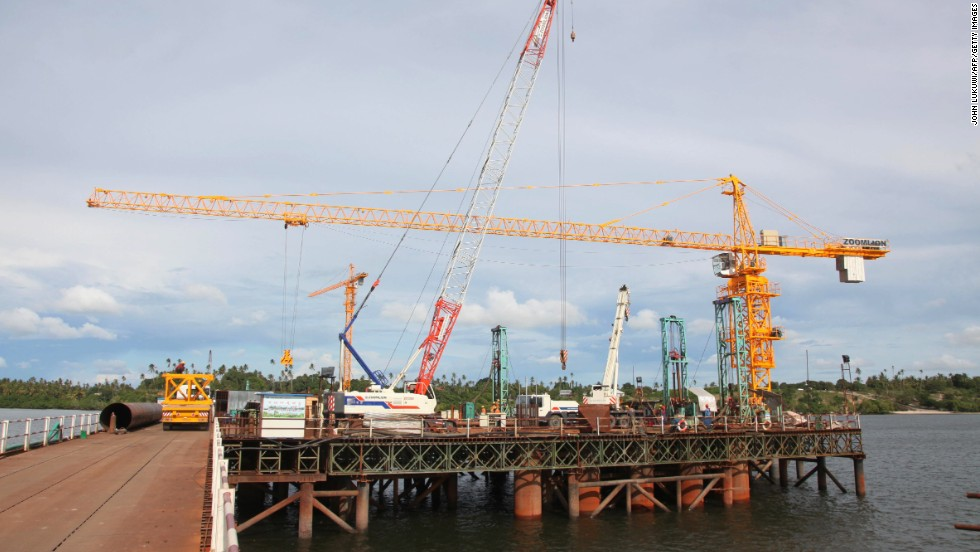 View of the construction site of an ultra modern bridge being built by a Chinese company in Dar es Salaam on March 23, 2013. The bridge will have a total length of 680 meters.