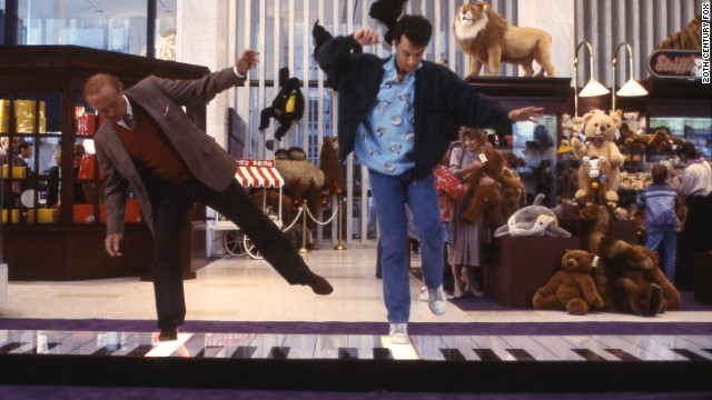 "Actors Robert Loggia, left, and Tom Hanks in the famous piano scene from the movie ""Big."""