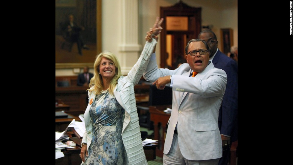 "Wendy Davis became a household name and a hero to supporters of abortion rights when the Texas state senator <a href=""http://www.cnn.com/2013/06/26/politics/wendy-davis-profile/index.html"">staged a dramatic 11-hour filibuster</a> in June. The target was a Republican bill aimed to seriously roll back abortion rights in the state. Davis is <a href=""http://www.cnn.com/2013/10/03/politics/wendy-davis-texas-governor/"">now running for governor in Texas,</a> and Democrats view the single mom who made her way from a trailer park to Harvard Law School as one of the party's best chances at the governorship, which has been in GOP hands since George W. Bush topped Democrat Ann Richards in 1994."
