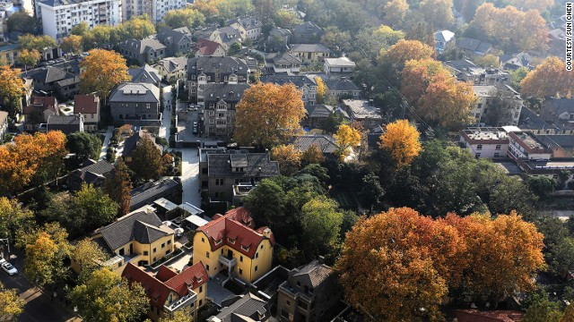 Old Nanjing neighborhood seen from above. The former mayor was said to have a penchant for demolition projects